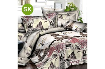 Super King Size Eiffel Tower Quilt/Doona Cover Set