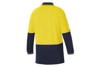 Hard Yakka High Visibility Two-Tone Long Sleeve Polo Top (Yellow/Navy)