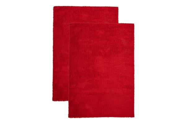 Pack of 2 Awesome Shag Rugs Red 130x70cm