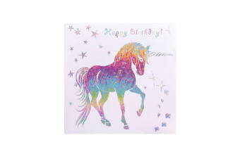Deckled Edge Prancing Myth Greetings Card (Happy Birthday - Unicorn (White/Rainbow))