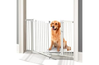 76cm Tall Baby Kids Pet Safety Security Gate Wide Adjustable Stair Barrier Door  -  White