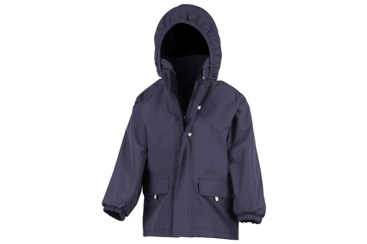 Result Childrens Unisex Rugged Stuff Long Lined Hooded Coat (Navy) (S)