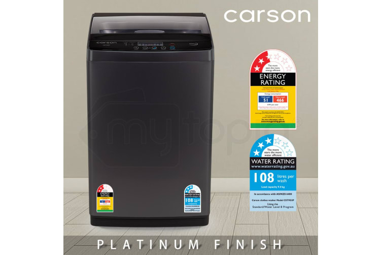 CARSON 9kg Top Load Washing Machine Home Dry Wash Automatic Washer Laundry Grey