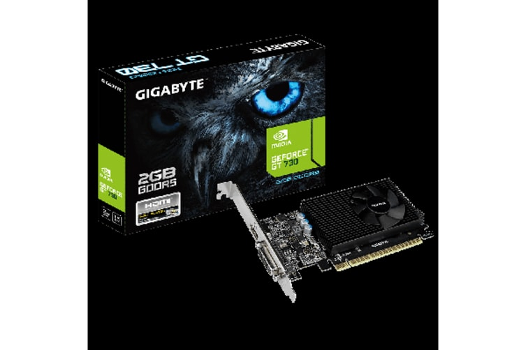 Gigabyte nVidia GeForce GT 730 2GB DDR5 Ultra Durable PCIe Video Card 4K HDMI 2xDVI 3xDisplays Fan 902Mhz Low Profile Bracket