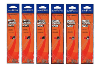 6 Packets of Surecatch Snelled Limerick Hook Rigs - Qty-72 Rigs (Size:6)