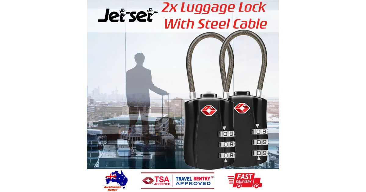 271e689262a5 2 x TSA Approved 3 Digit Combination Locks Cable Luggage Suitcase Security  Locks | Travel Accessories