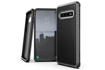 X-Doria Defense Lux Clear Case Cover Protect f/ Samsung Galaxy S10 Carbon Fiber