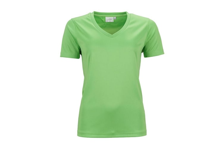 James And Nicholson Womens/Ladies Active V Neck T-Shirt (Lime Green) (3XL)