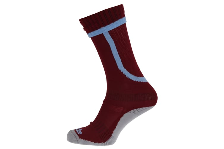 Apto Childrens/Kids Ergo Football Socks (Maroon/Sky Blue) (4-6 Junior UK)