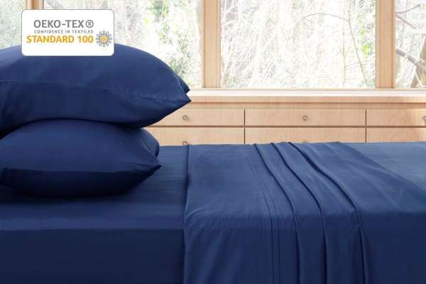 Ovela 400TC 100%  Bamboo Bed Sheet Set (Queen, Marine)