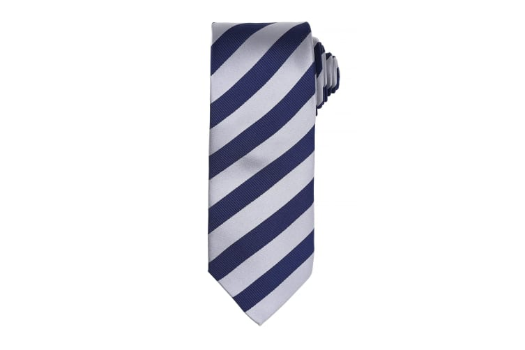 Premier Mens Club Stripe Pattern Formal Business Tie (Pack of 2) (Silver/Navy) (One Size)