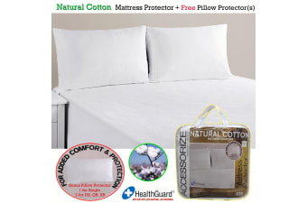 Natural Cotton Mattress Protector with Free Pillow Protector(s) by Accessorize
