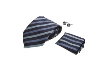 Pierre Roche Mens Tie  Handkerchief And Cufflink Set (Navy Stripe)