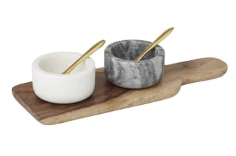 Academy Condiment Set Marble & Wood 5 Piece