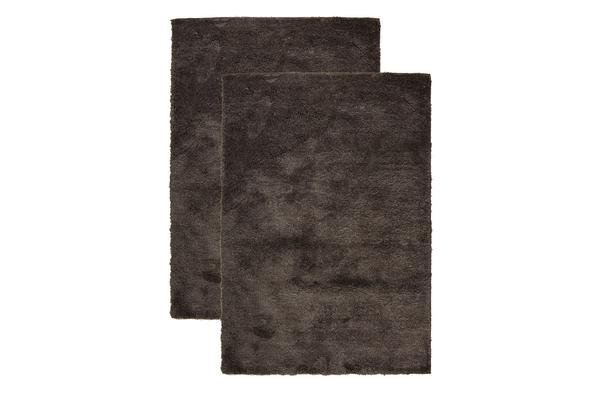 Pack of 2 Awesome Shag Rugs Dark Brown 130x70cm