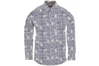 Brave Soul Mens Idris Long Sleeve All Over Patterned Shirt (Ink/ Optic White)