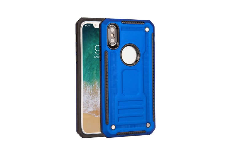 For iPhone XS & X Case  Armour Strong Shockproof Thin Tough Phone Cover  Blue