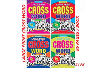 24 x A4 Crossword Puzzle Books To Solve Convenient Fun Game (60 Puzzles/Book)