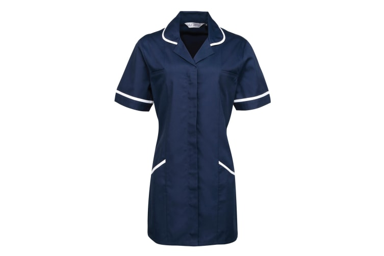 Premier Ladies/Womens Vitality Medical/Healthcare Work Tunic (Pack of 2) (Navy/ White) (20)