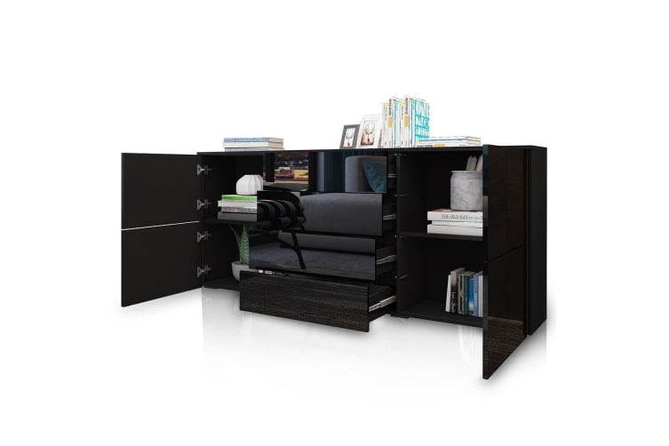 Sideboard Table Buffet Storage Cabinet High Gloss Cupboard w/4 Doors and 4 Drawers - Black