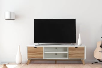 Ovela 2 Drawer TV Entertainment Unit - Finse Collection (White & Dark Birch)
