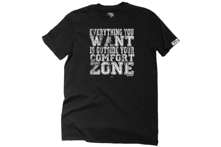 Personal Best Running Tee - Everything You Want Is Outside Your Comfort Zone - (Small Black Mens T Shirt)