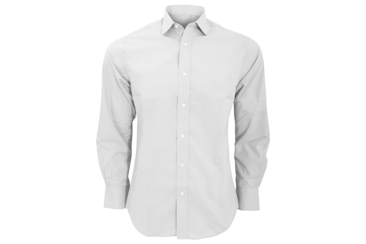 Kustom Kit Mens Tailored Fit Long Sleeved Business Shirt (White) (16.5inch)