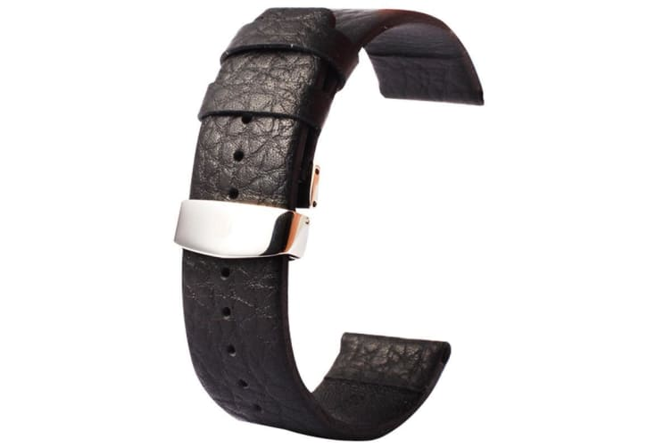 Black For Apple Watch (42mm) Buffalo Hide Genuine Leather Watch Band