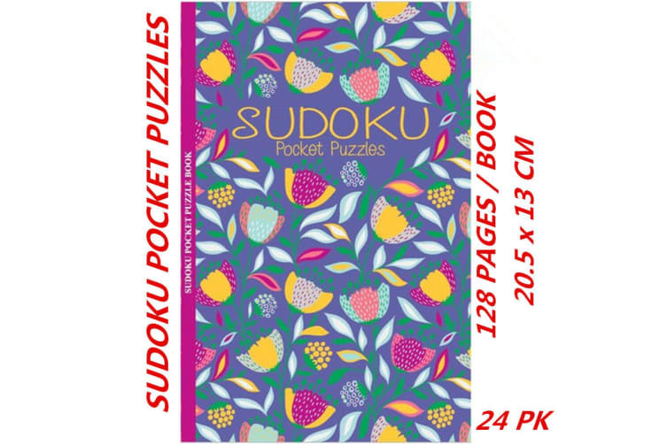 24 x Sudoku Pocket Puzzle Book Floral Foil Mind Activity Travel (128 Pages/Book)