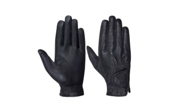 Hy5 Adults Leather Riding Gloves (Black)