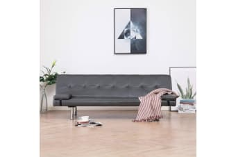 vidaXL Sofa Bed with Two Pillows Grey Faux Leather