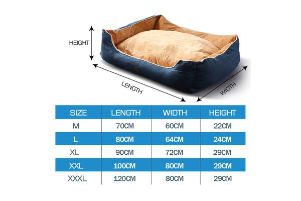 Soft Lining Washable Pet Bed Mat Cushion BLUE M-Size