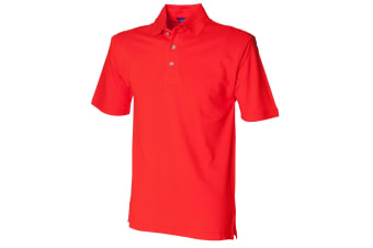 Henbury Mens Classic Plain Polo Shirt With Stand Up Collar (Bright Orange)