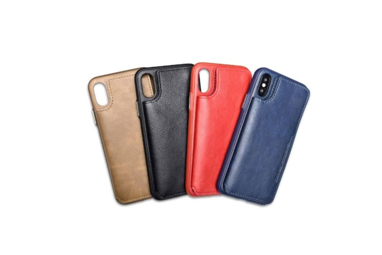 Retro Pu Flip Leather Wallet Case Card Slot Holder Cover Khaki for Iphone X