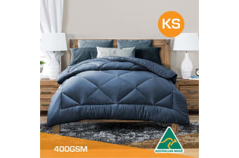 King Single Size Aus Made All Season Soft Bamboo Blend Quilt Blue Cover