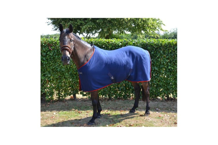 Hy Signature Fleece Rug (Navy/Red) (5 ft 3)