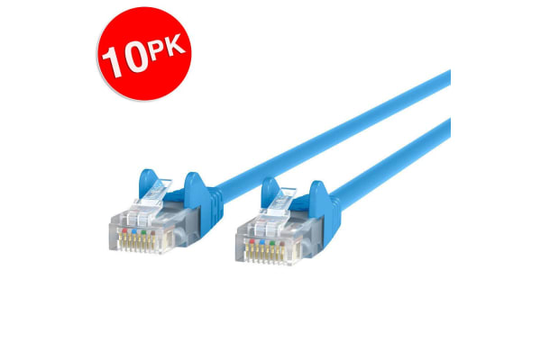 10PK Belkin 5M Cat5e Snagless Patch Cable - Blue