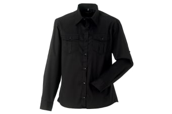 Russell Collection Mens Long / Roll-Sleeve Work Shirt (Black) (M)