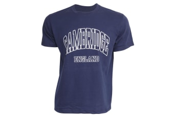 Mens Cambridge England Print 100% Cotton Short Sleeve Casual T-Shirt/Top (Navy)