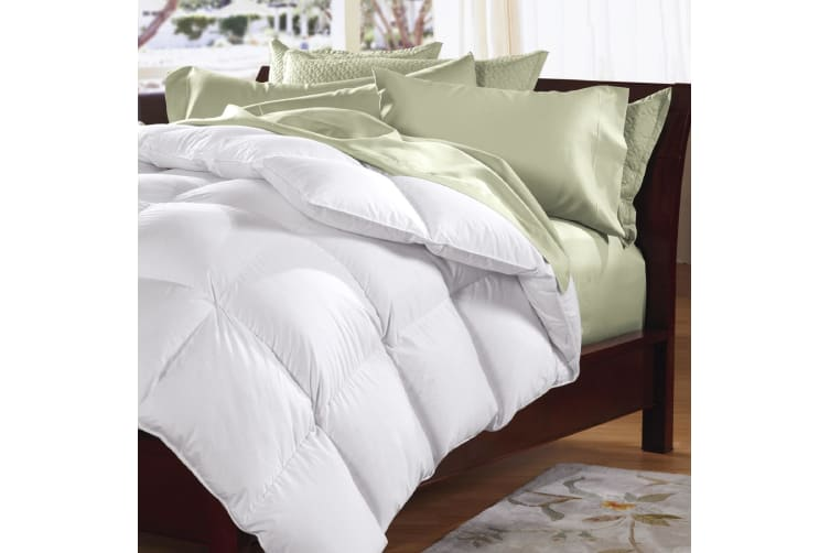 Goose Feather & Down Quilt 500GSM + Goose Feather and Down Pillows 2 Pack Combo - Queen - White