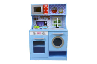 Kids Play Toy Wooden Kitchen Set - Sky Blue (WK8072)
