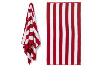 Canningvale Cotton Terry Beach Towel - Cabana Stripe Red