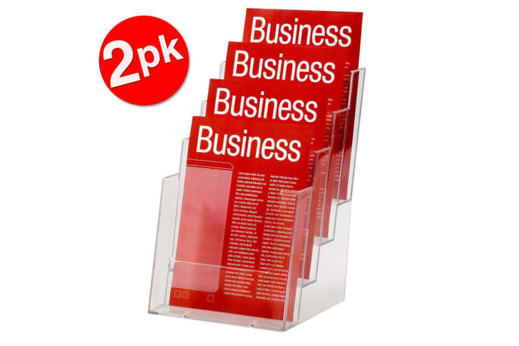2PK Esselte 4 Tier A5 Brochure Holder Catalogue/Pamphlet/Flyer Display Stand
