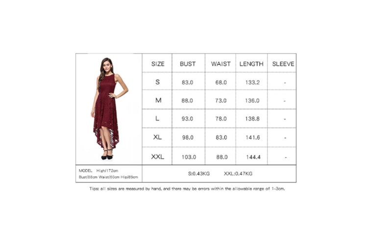 Women'S Dress Sexy Lace Evening Dress Long Tuxedo Big Swing Skirt - Wine Red Red Xl