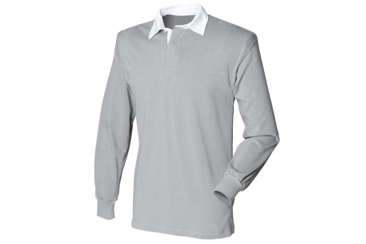 Front Row Mens Long Sleeve Sports Rugby Shirt (Slate Grey) (2XL)