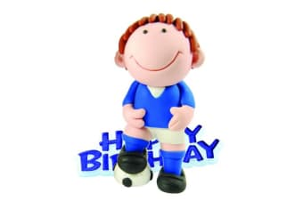 Creative Football Player Design Birthday Party Cake Topper (Blue) (One Size)