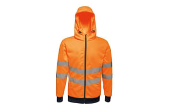 Regatta Mens Hi Vis Pro Full Zip Stretch Reflective Hoodie (Orange/Navy)