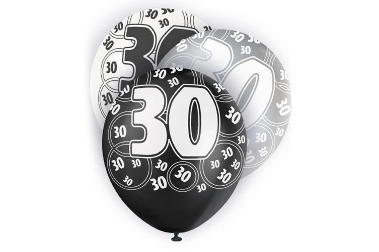 Unique Party 12 Inch 30th Birthday Black Balloons (Pack Of 5) (White/Black) (One Size)