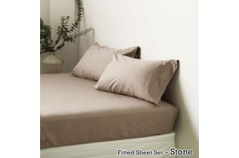 Polyester Cotton Fitted Sheet Set Stone King by Apartmento