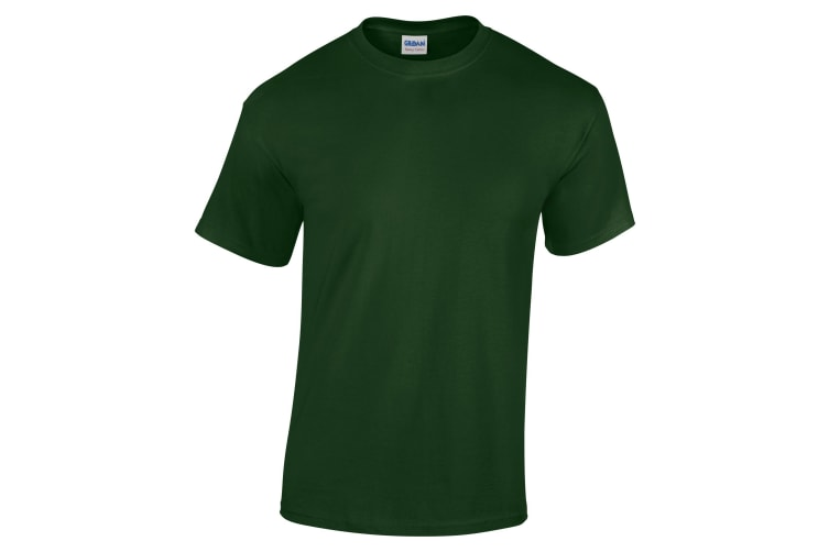 Gildan Childrens Unisex Heavy Cotton T-Shirt (Pack Of 2) (Forest Green) (M)